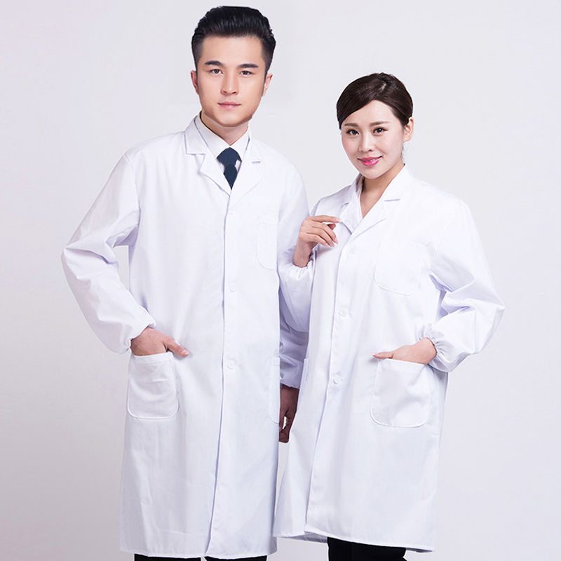 Women Men White Medical Coat Clothing Medical Services Uniform Nurse Clothing Long-sleeve Polyester Protect Lab Cloth