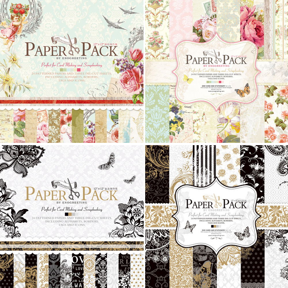 Eno Greeting 12 Inch Vintage Paper Pack For Scrapbooking And