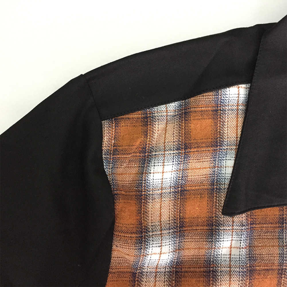 50 s Rockabilly Shirts Mannen Vintage Punk Rave Shirts Korte Mouwen Plaid Gedrukt Rolling Rock Shirt Casual Hip Hop Jurk shirts Mannen