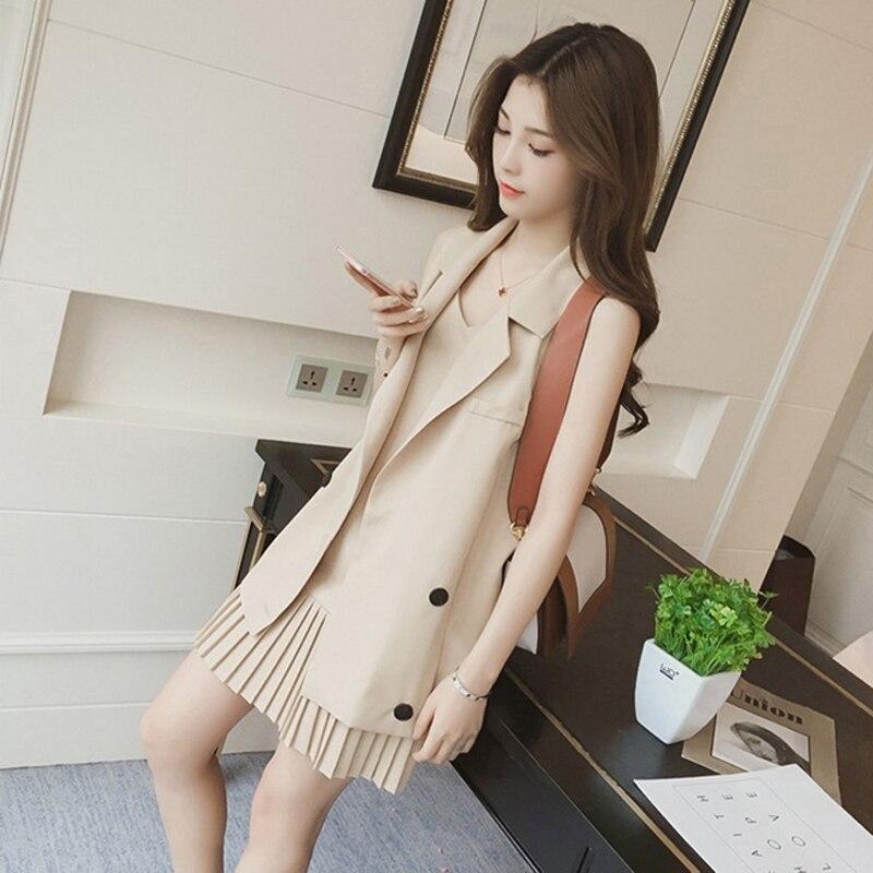 2 Piece Women Long Vest Jacket + Pleated Dress 3