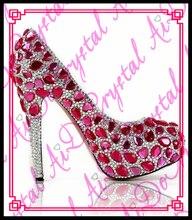 Aidocrystal roten kristall strass Schuhe Frau Sexy Stiletto High Heels Flacher Mund Dünne Ferse Pumpen Weibliche Party Hochzeit Tragen