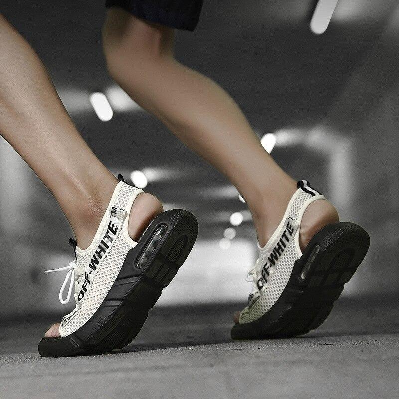 Personalizado Sapatos branco Casuais Malha Selvagem Praia Red Sandálias Homens Preto Respirável Moda Verão De Homens black Dos aq1XAt
