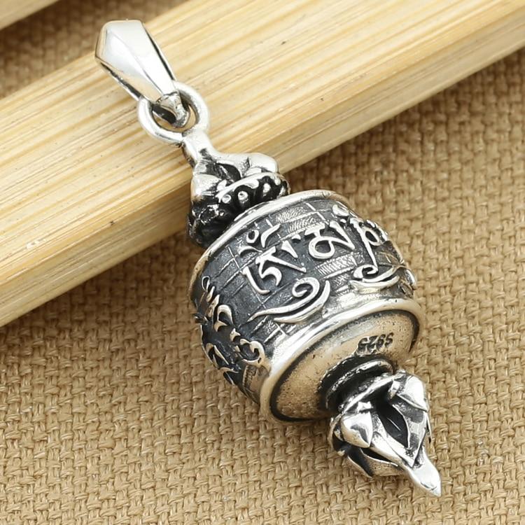 Real 925 Silver Tibetan OM Mani Padme Hum Dorje Pendant vintage sterling silver OM Dorje Pendant Buddhist Pendant
