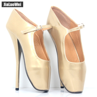 Jialuowei NEW 8 High Heel Sexy Fetish simple Ballet Heels Pumps Shoes Pointed Toe Ankle Buckle Straps Ballet Shoes