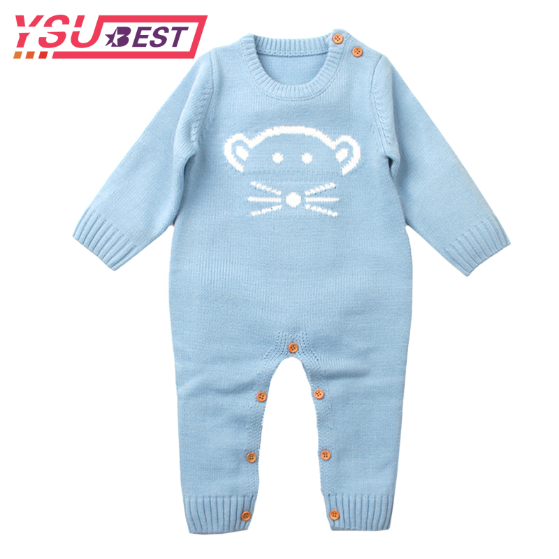 2018 Baby Rompers Knitted Baby Girls Jumpsuits Mouse Newborn Boys Rompers Long Sleeve Girls Clothes Cute Boys Outerwear Clothes
