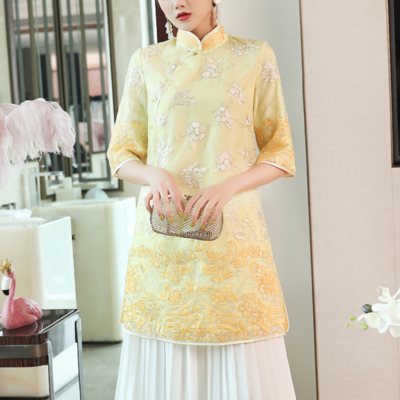 Blouse Women Summer 2019 New Vintage Embroidered Stand Collar Half Sleeved Zen Tang Suit Long Han Chinese Clothes S-XXL