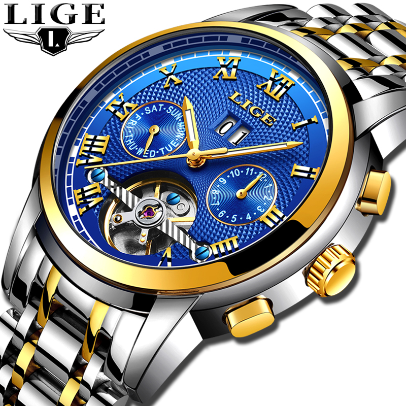 2019 LIGE Tourbillon Relógio Automático Dos Homens de Esqueleto Relógio Mecânico Relógio Automático Homem Relógio Do Esporte À Prova D' Água Relogio masculino