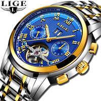 2019 LIGE reloj automático esqueleto Tourbillon reloj mecánico deportivo impermeable reloj automático reloj hombre reloj Masculino