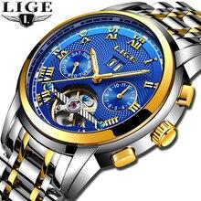 2020 LIGE Automatic Watch Men Skeleton Tourbillon Mechanical