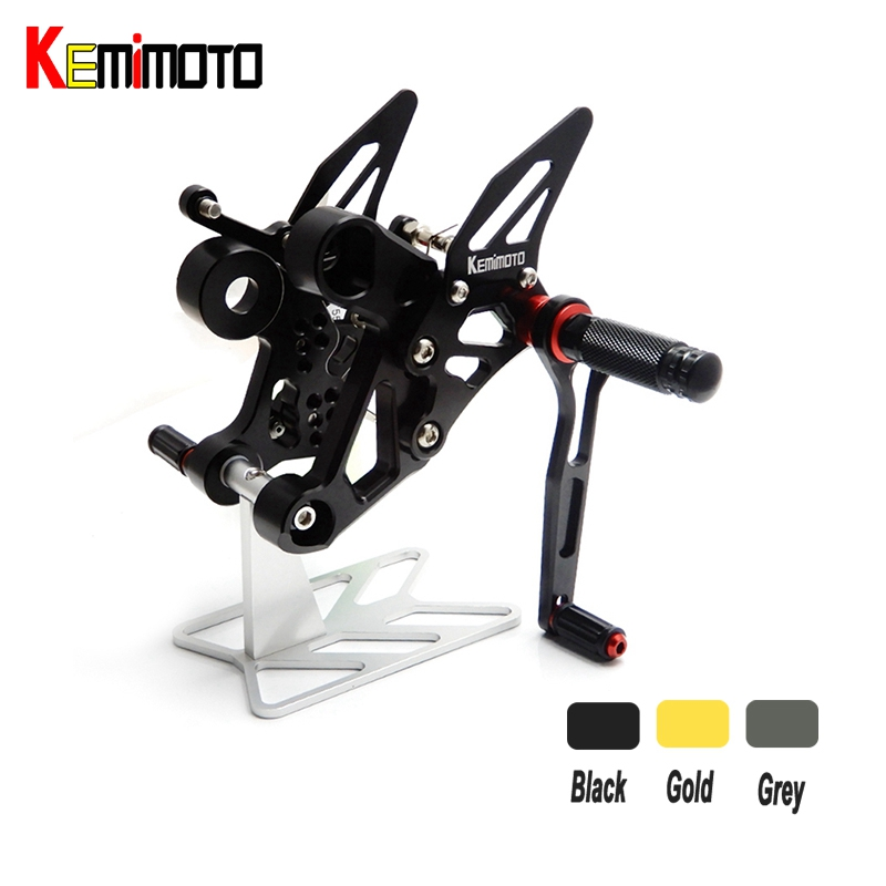 KEMiMOTO For Yamaha MT-09 FZ-09 MT09 FZ 09 CNC Adjustable Rear Set Rearsets Footrest MT-09 FZ 09 2014 2015 2016 3d rhombus cnc aluminum adjustable motorcycle brake clutch levers for yamaha fz 09 mt 09 sr fz 07 mt 07 2014 2018 2014 2015