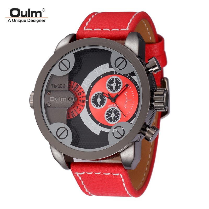 Oulm Mens Watches Top Brand Luxury Man Quartz Watch Big Dial Sports Leather Wrist Watches Casual Male Clock relogio masculino moda argenti moda argenti st 576
