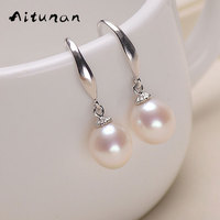 Aitunan Natural Pearl Earrings Silver 925 Fashion Jewelry Earrings White Pearl Earrings For Women Freshwater Pearl