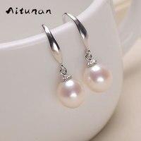 Aitunan Natural Pearl Earrings Silver 925 Fashion Jewelry Earrings White Pearl Earrings For Women Freshwater Pearl