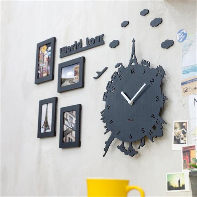 PINJEAS Individuality Decor Kids Room Silent wall clock Creative Decorations Bedroom/Living Room 12 Inch Quartz clocks