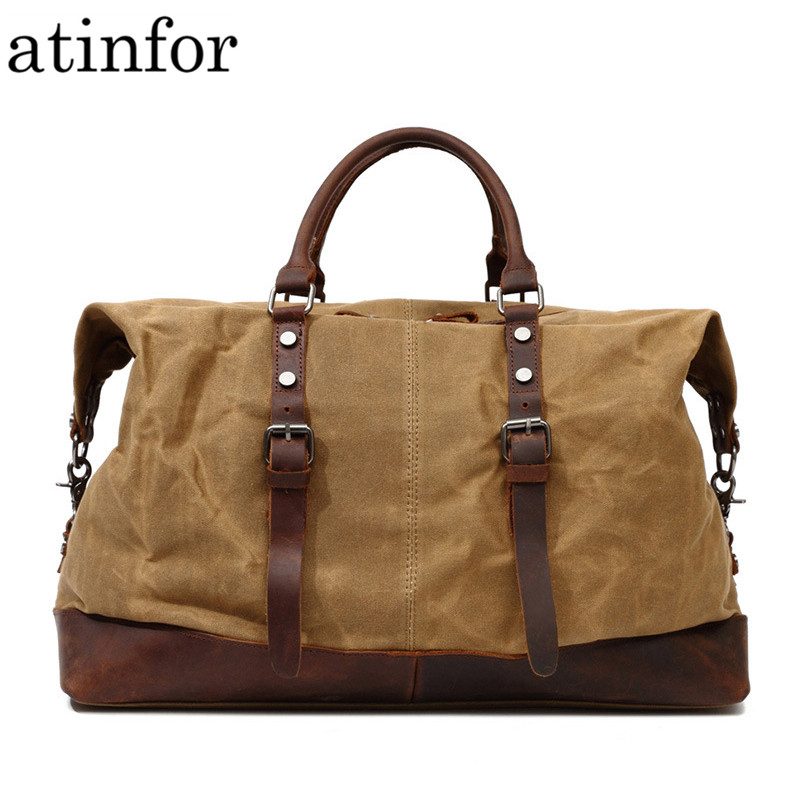 Men Travel Bag Big Vintage Waterproof Canvas with Genuine Leather Weekend Traveling Duffle Bags Large Carry on Luggage Bag
