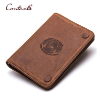 CONTACT S Men Wallet Crazy Horse Genuine Leather Card Holder Coin 2017 High Quality Short Phone