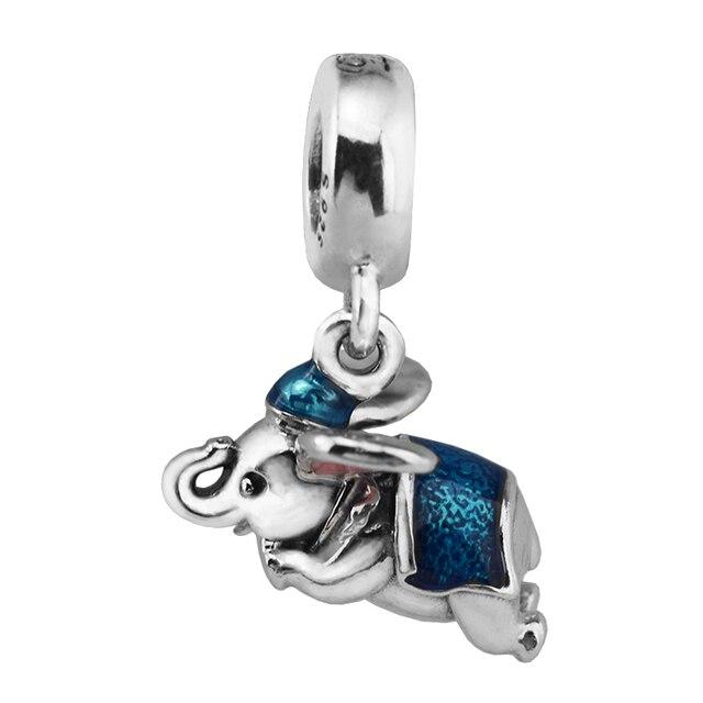 5f2ba4cba Fits pandora Bracelets Flying Dumbo Charm 925 Sterling Silver Flying  Elephant Enamel Beads for Women Jewelry DIY Accessorie