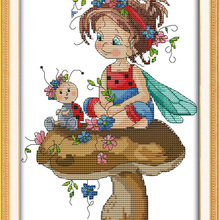 little girl and a sevenspotted ladybug cross stitch kits 14c