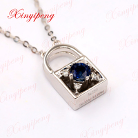 Xinyipeng 18K white gold inset natural sapphire necklace pendant love locks a three day, women, anniversary birthday present.