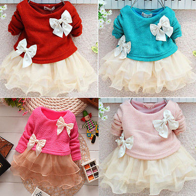 2016 New Free Shipping Baby Girls Dress Knit Sweater Tops Lace Bow-knot Dresses Clothing   Free  Shipping 2015 new jacadi baby sweater dress yf01
