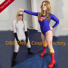 Free Shipping DHL Adult Superhero Costume Classical Supergirl Halloween Costume, Blue Lycra Leotard For Women Catsuit SG111202