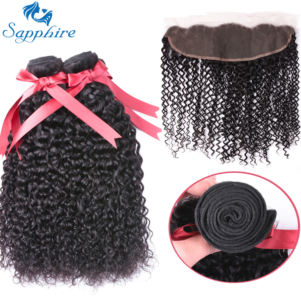 Sapphire Hair Malaysian Kinky Curly Bundles With Closure Remy Hair Frontal With Bundles Human Hair Bundles