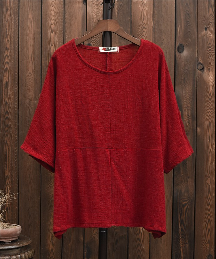 ORIGOODS Solid color Plus size Women Blouse Shirt Cotton Vintage Summer Loose Casual Shirts Women Tops and Blouses Femme B202 9