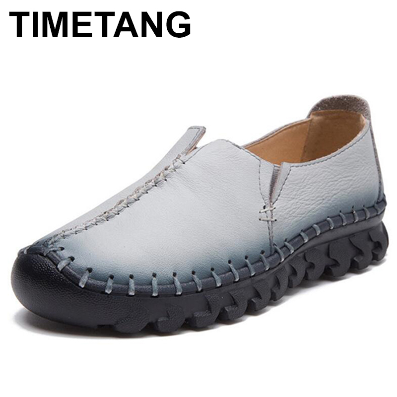 TIMETANG New Fashion Women Shoes Woman Genuine Leather Flat Shoes Hand-sewn Leather Loafers Female Casual Shoes Women Flats C244