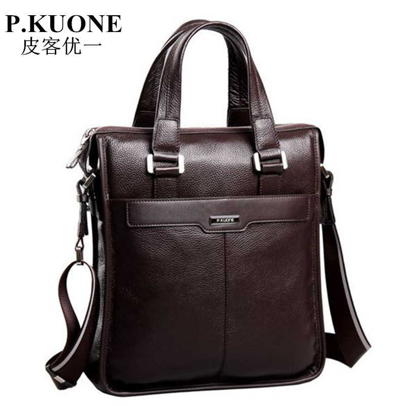 New P.kuone brand men bag handbag genuine leather bag cowhide leather men briefcase business casual men messenger bags for 2018
