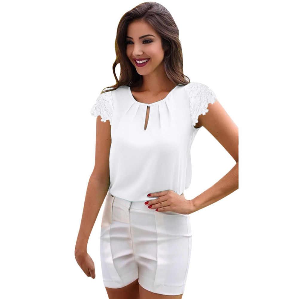女性の夏のレースボタン半袖シフォントップス tシャツ女性おかしい tシャツ女性の夏の tシャツ女性