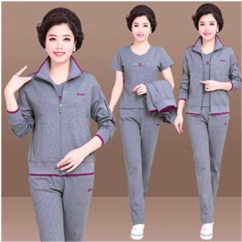 Lady pak Lente herfst Sporting suit set Grote maat Midden leeftijd vrouwen kleding 3 delige set vrouwen Lange mouw top en broek 962