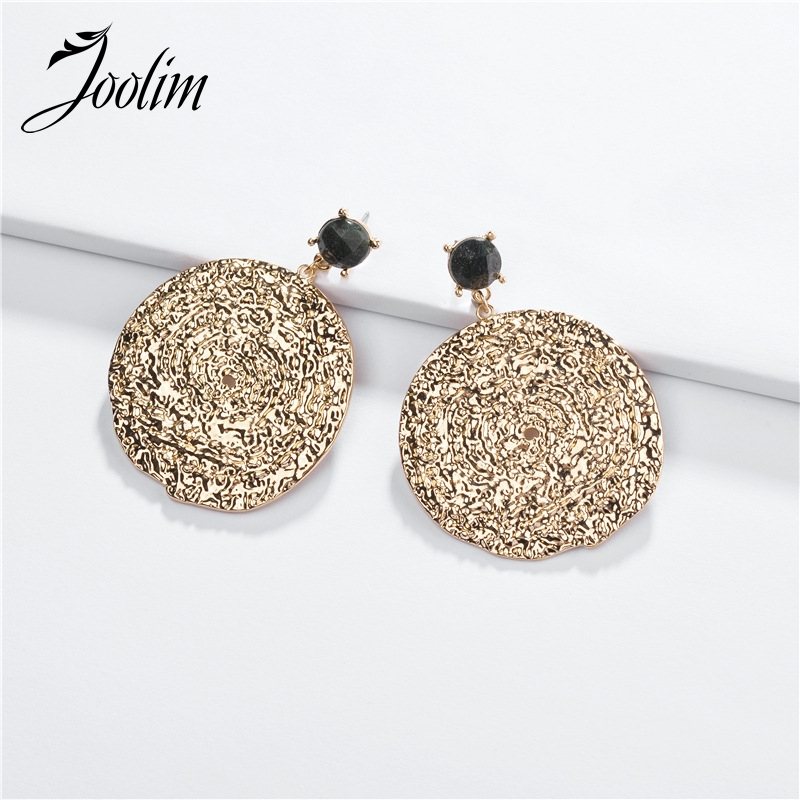 Joolim Natural Stone Gold Color Texture Earring Statement Party