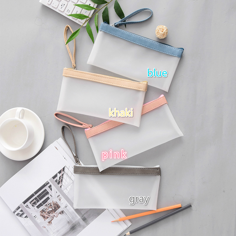 1PC Muji Concise Style Scrub Waterproof Pencil Bag School Office Supplies Cute Stationary Boutique Wholesale