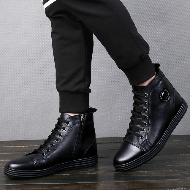 Tobillo Botas Los Hombres Zapatos Casuales Estilo Punky del Cuero Genuino Martin Botas hombres Cremallera Abierta de Coser A Mano Moda Urbana Negro Zapato Plano Masculino