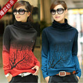2016 Fashion Women Turtleneck Sweater cashmere gradient knitted top plus size woman sweater green,blue,red,grey S,M,L,XL,XXXL