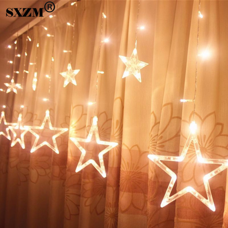 2.5M 96Leds Fairy Star LED Gardin String Light AC220V EU Jul Romantisk Belysning För Holiday Bröllop Garland Party