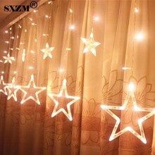 2.5M 96leds Fairy Star LED Curtain String light AC220V EU Christmas Romantic Lighting For Holiday Wedding Garland Party
