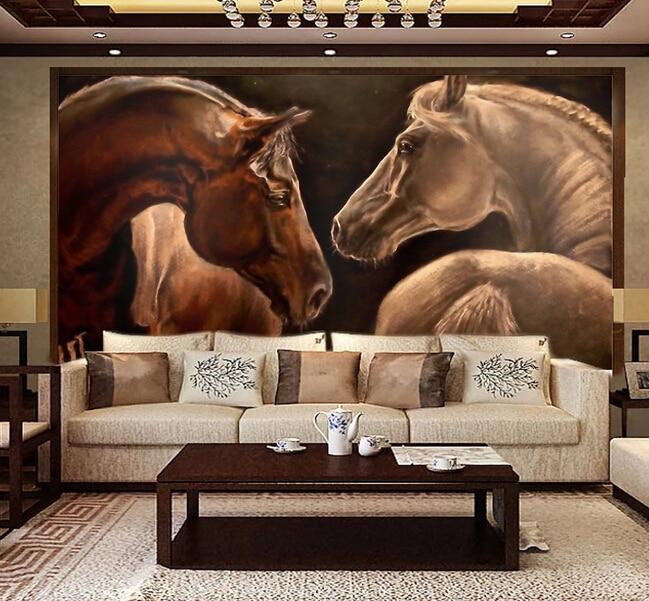 Cheval personnalisé papier peint 3D, peinture à l'huile cheval pour le salon chambre TV fond mur imperméable en soie tissu papier peint