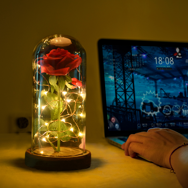 2018 WR 5 Days Arrival Beauty and Beast Red Rose with LED Light in Glass Dome on Wooden Base for Birthday's and Valentine's Gift