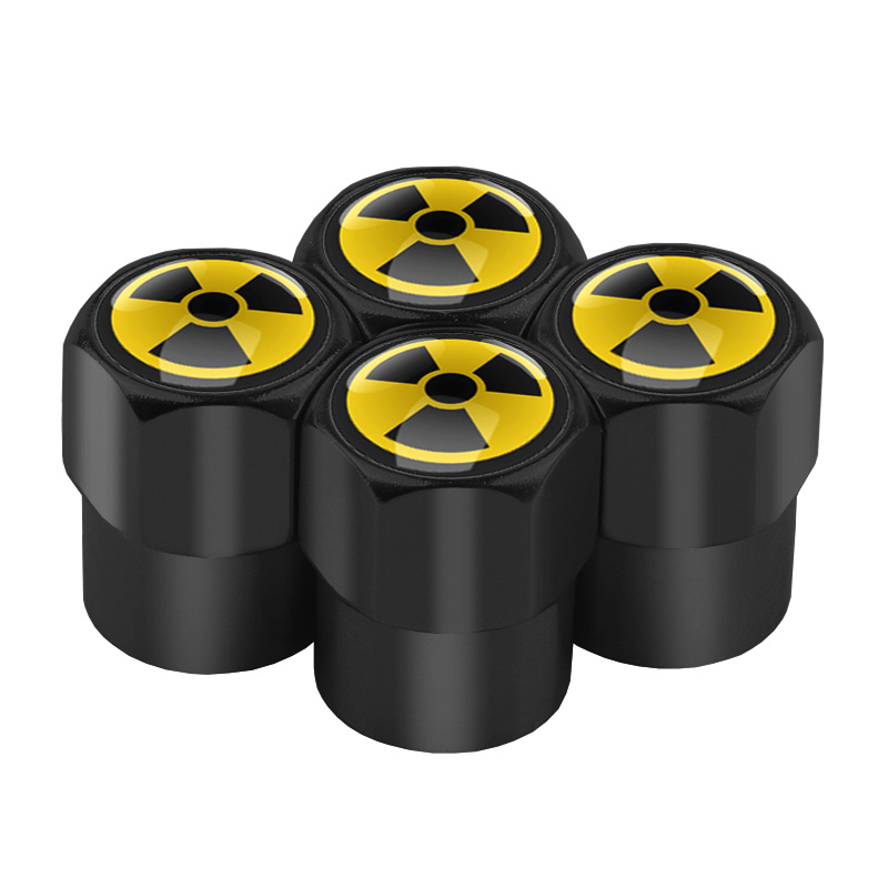 4pcs Car-Styling Nuclear Radiation Emblem Case Car Tire Valve Caps Universal Auto Tyre Stems Cap Motorcycle Tire Accessories