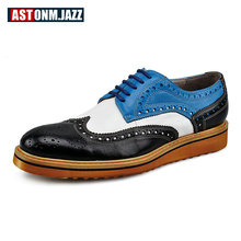 New Branded Design Men's Casual Patent Full Grain Leather Oxfords Fulll Brogue Pointed Toe Fashion Mixed Color Oxford Shoe
