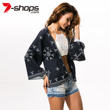 2019 Womens Tops and Blouses Cardigan Chiffon Kimono Batwing Long Sleeve Summer Tops Kimono Female Beach Casual Blouses(China)