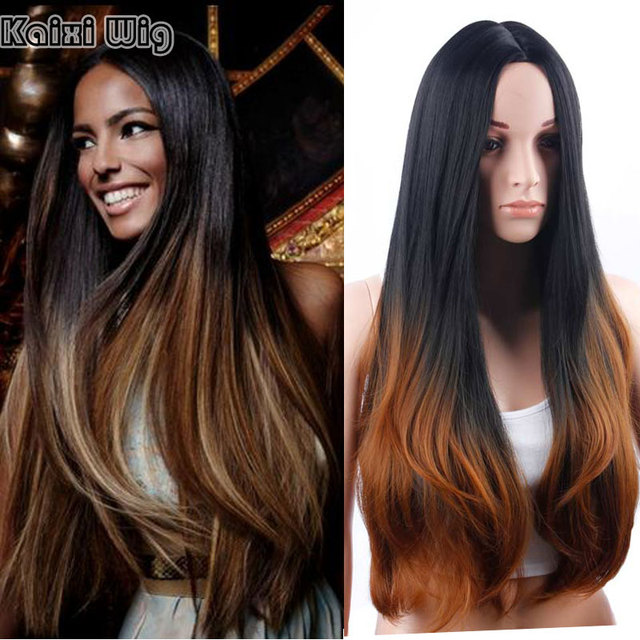 Long Hairstyles For Women 30  Long Ombre Wig Best Synthetic Wigs For Black White  Women Cheap Hair Wigs Womans Wig Fake Hair 301d700c46