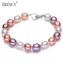 Fashion 8-9MM rice shape Natural freshwater Multicolor pearl bracelet send girlfriend to send mother natural quality goods color ice stone bracelet send certificates send jewelry box