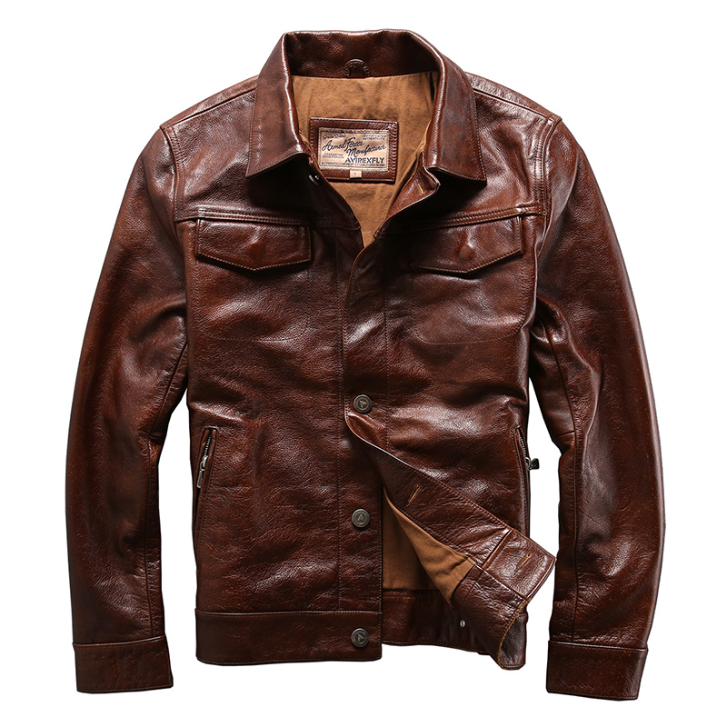 AVIREXFLY homens vaca genuína pele jaqueta de couro motociclista jaqueta de couro dos homens do couro ocasional do vintage Casual Single-breasted jaquetas