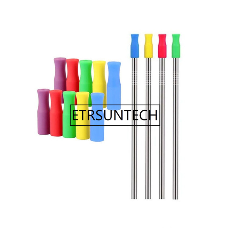 2000pcs lot 8 Colors Stock Silicone Tips for Stainless Steel Straws Tooth Collision Prevention Straws Cover