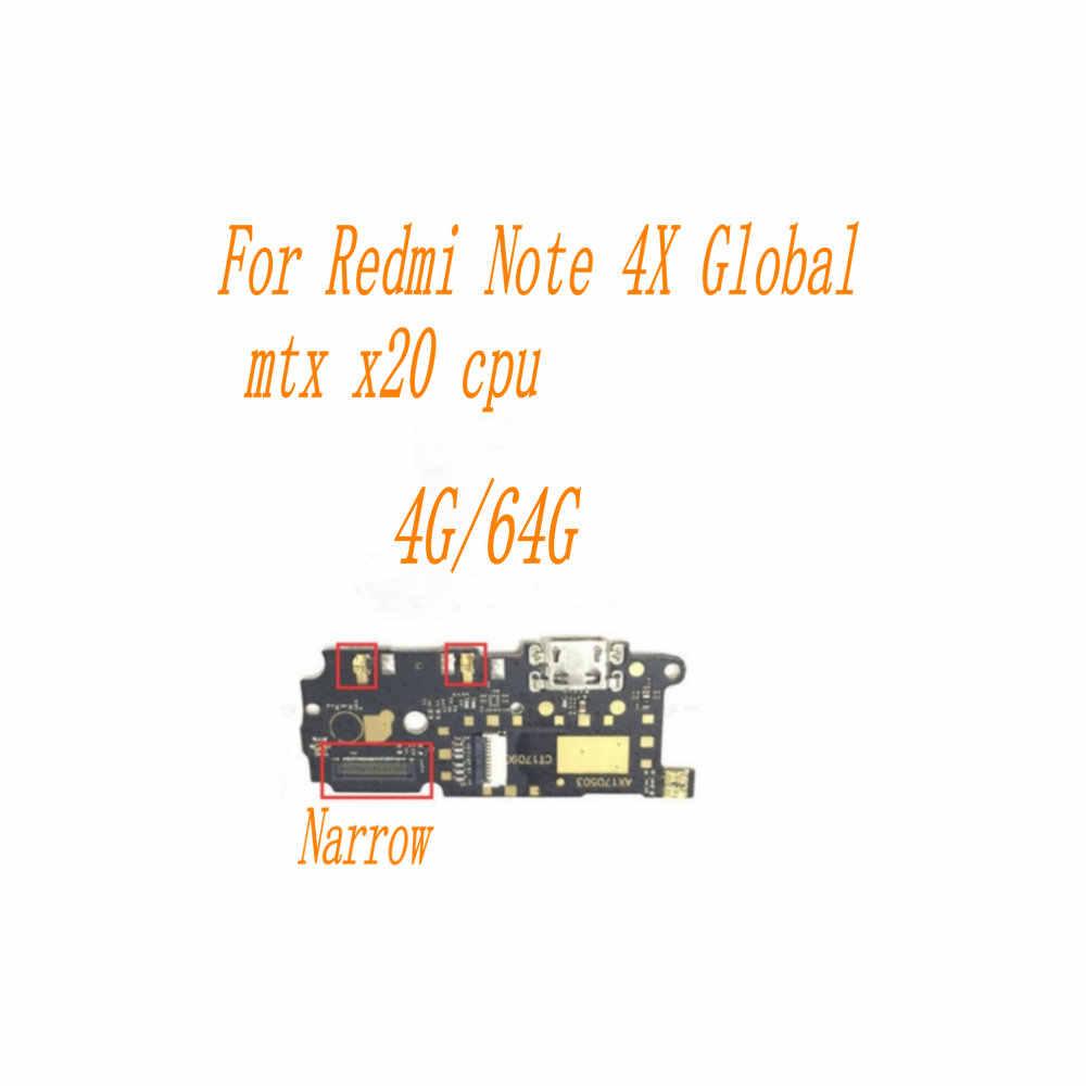 Usb 電源充電ポートドックフレックスケーブル xiaomi redmi note 4 × 4 グラム/32 グラム/64 グラムグローバル狭い