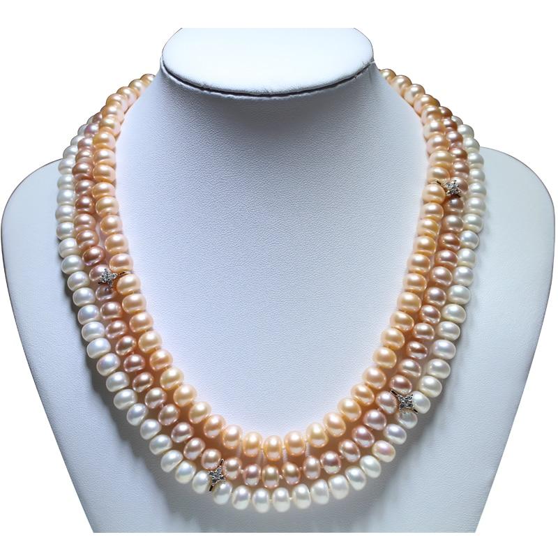 RUNZHUQIYUAN 2017 nouveau collier de perles d'eau douce naturelles 925 bijoux en argent sterling 8-9mm véritable collier meilleurs cadeaux pour les femmes