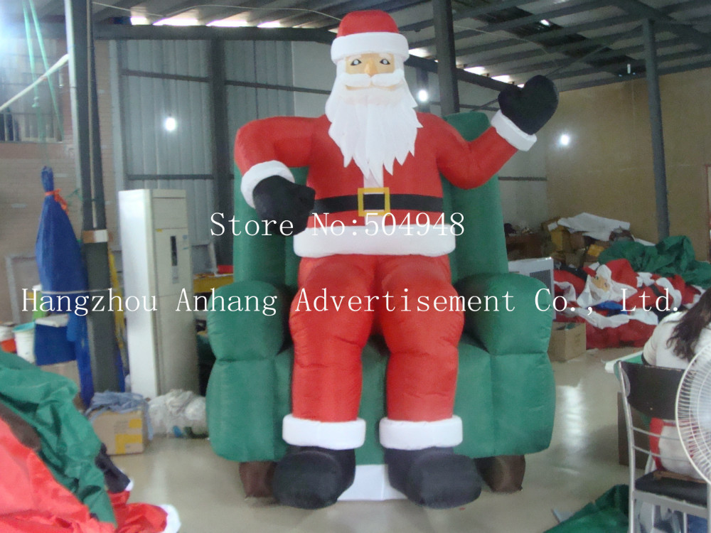 Christmas Inflatable Santa On Chair inflatable cartoon customized advertising giant christmas inflatable santa claus for christmas outdoor decoration