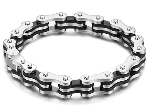 2015 new  fashion trend health surgical grade titanium steel jewelry cool bike chain bracelet for men